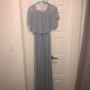 HACIENDA MAXI DRESS ~ STEEL BLUE CHIFFON